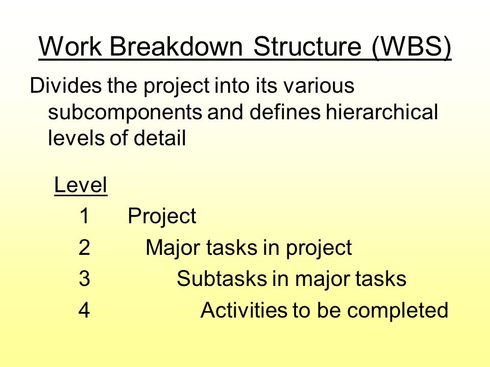 Work Breakdown Structure (WBS) Divides the project into its various subcomponents and defines hierarchical levels of detail Level 1Project 2 Major tas