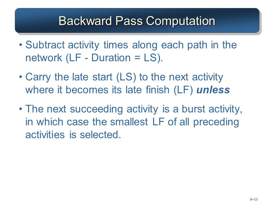 6–10 Backward Pass Computation Subtract activity times along each path in the network (LF - Duration = LS). Carry the late start (LS) to the next acti