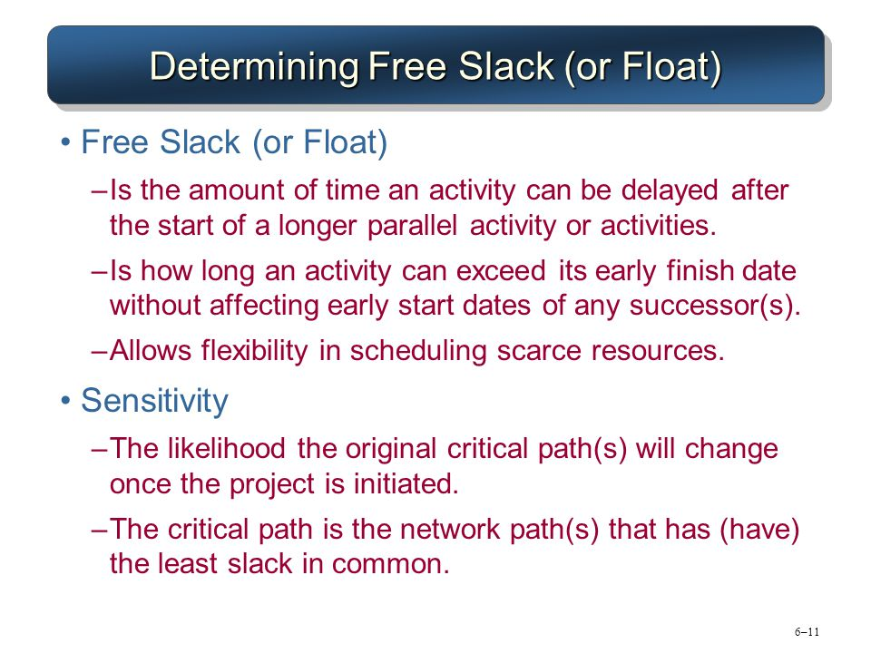 6–11 Determining Free Slack (or Float) Free Slack (or Float) –Is the amount of time an activity can be delayed after the start of a longer parallel ac