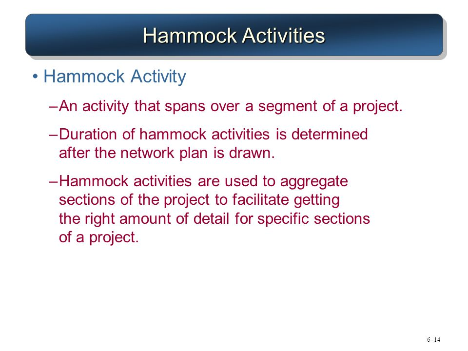 6–14 Hammock Activities Hammock Activity –An activity that spans over a segment of a project. –Duration of hammock activities is determined after the