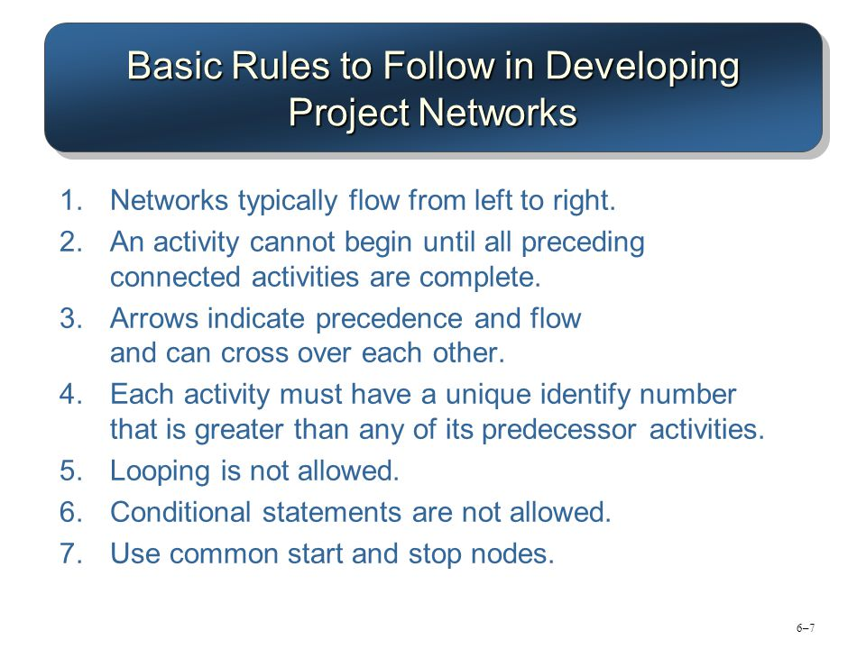 6–76–7 Basic Rules to Follow in Developing Project Networks 1.Networks typically flow from left to right. 2.An activity cannot begin until all precedi