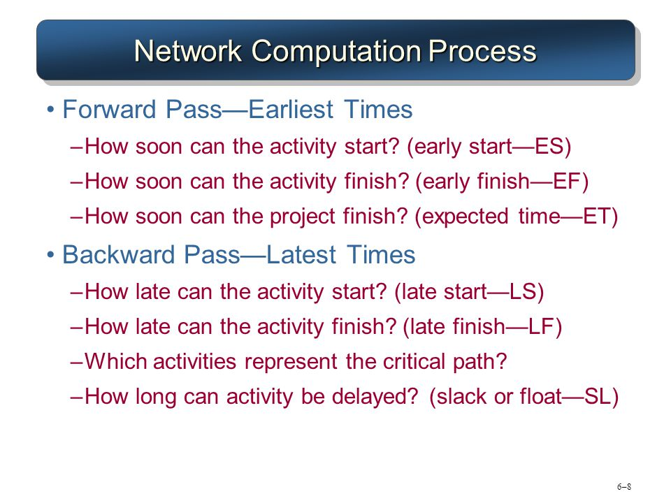 6–86–8 Network Computation Process Forward PassEarliest Times –How soon can the activity start? (early startES) –How soon can the activity finish? (ea