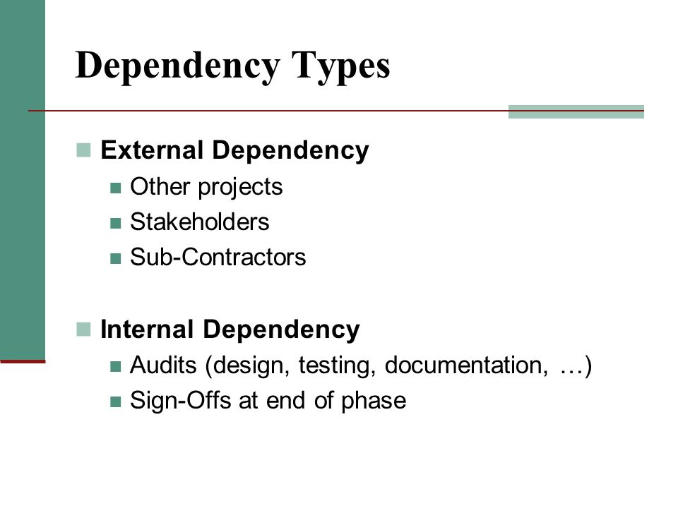 Dependency Types External Dependency Other projects Stakeholders Sub-Contractors Internal Dependency Audits (design, testing, documentation, …) Sign-O