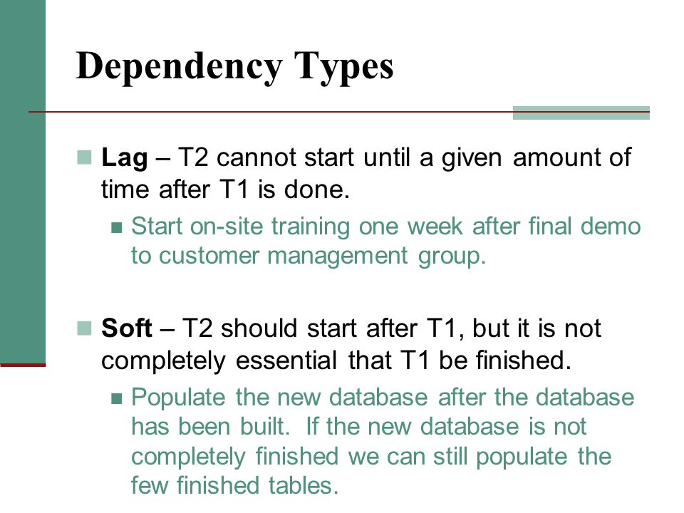 Dependency Types Lag – T2 cannot start until a given amount of time after T1 is done. Start on-site training one week after final demo to customer man