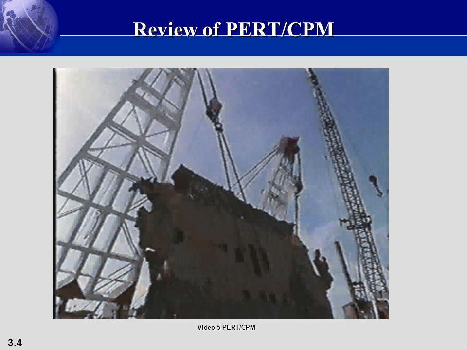 3.4 Review of PERT/CPM Video 5 PERT/CPM