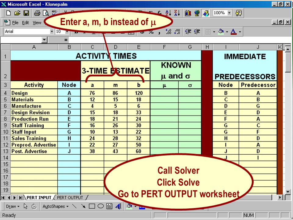Enter a, m, b instead of Call Solver Click Solve Go to PERT OUTPUT worksheet