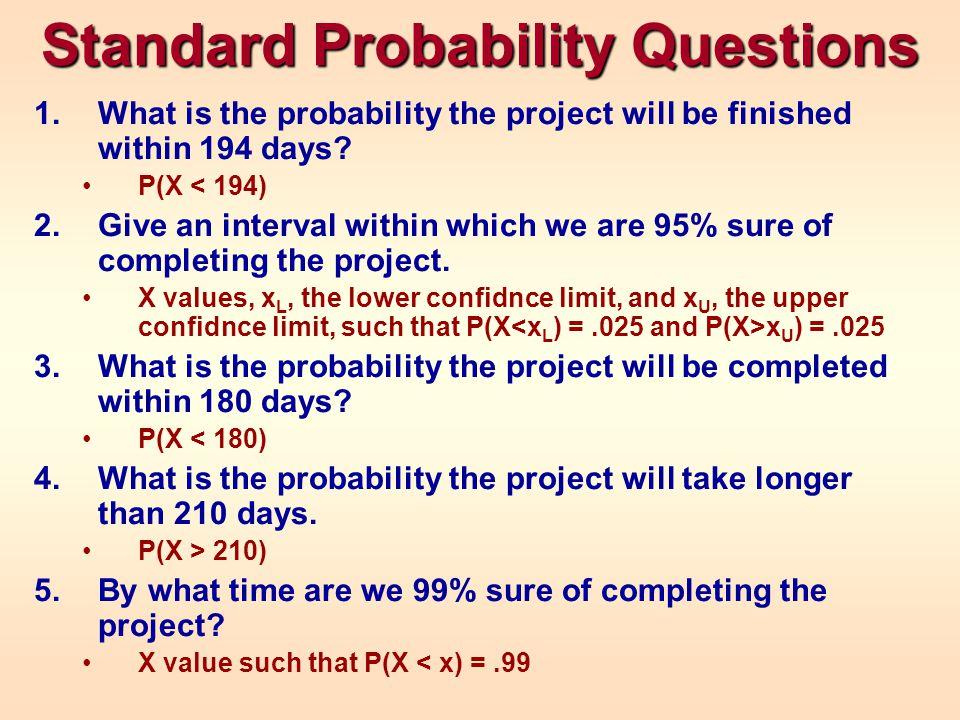 Excel Solutions NORMDIST(194, 194, 9.255, TRUE) NORMINV(.025, 194, 9.255) NORMINV(.975, 194, 9.255) NORMDIST(180, 194, 9.255, TRUE) 1 - NORMDIST(210, 194, 9.255, TRUE) NORMINV(.99, 194, 9.255)