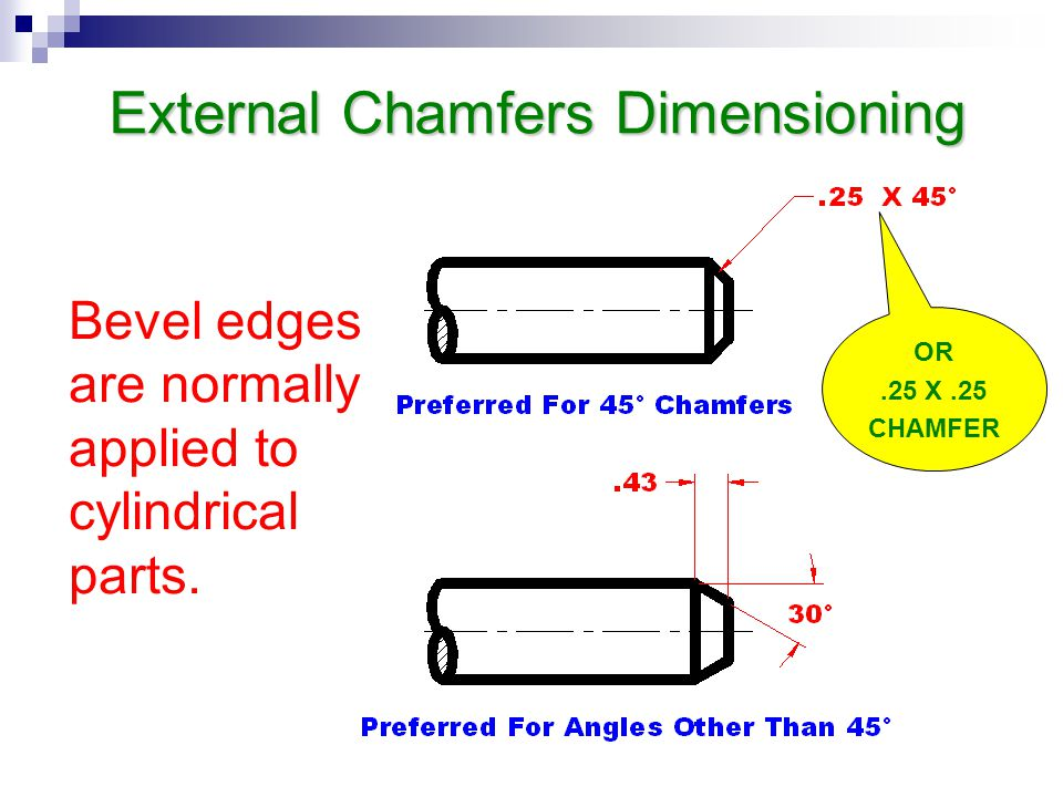 External Chamfers Dimensioning Bevel edges are normally applied to cylindrical parts. OR.25 X.25 CHAMFER