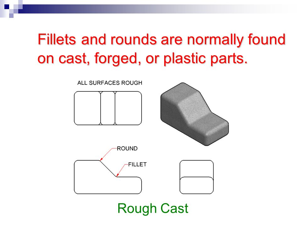 Fillets and rounds are normally found on cast, forged, or plastic parts. Rough Cast