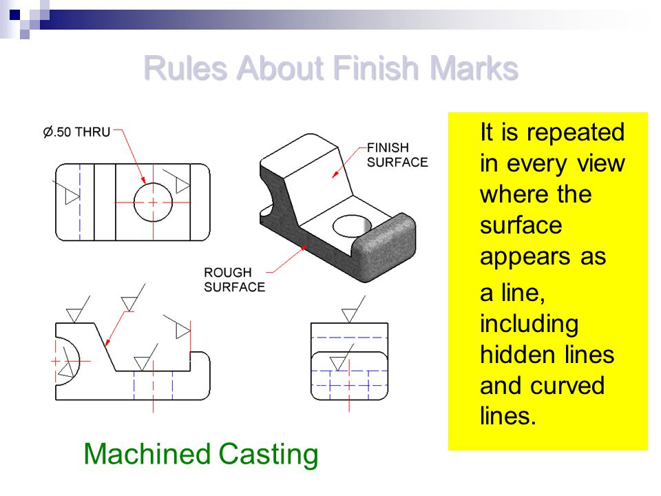 Rules About Finish Marks It is repeated in every view where the surface appears as a line, including hidden lines and curved lines. Machined Casting