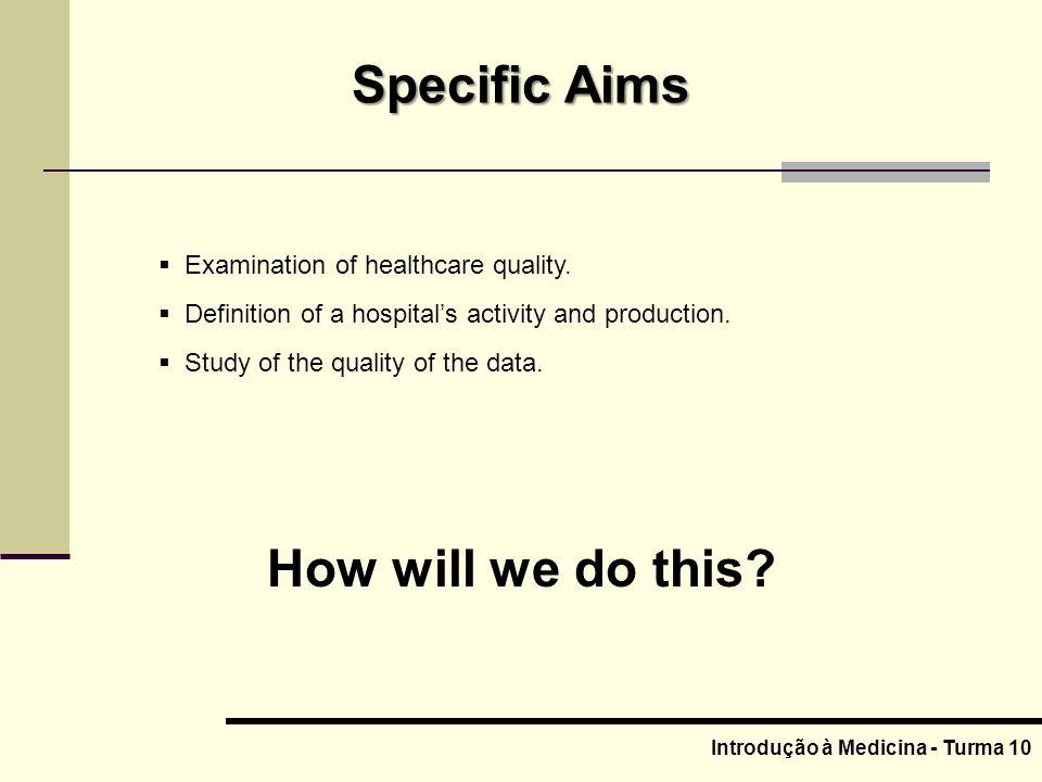 Introdução à Medicina - Turma 10 Examination of healthcare quality.