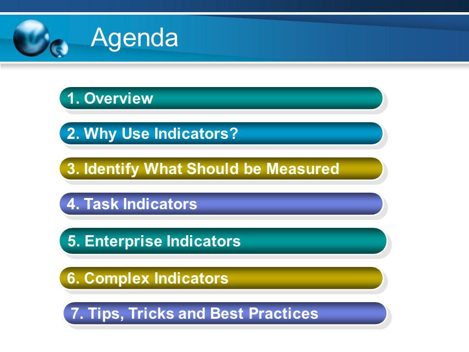 Complex Indicators Create indicator logic to distinguish certain types of tasks –Critical path –Custom flags –Key milestones Roll up values based on task type or flag fields