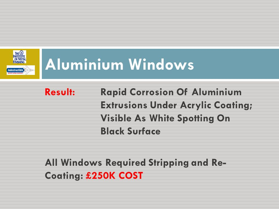 Result:Rapid Corrosion Of Aluminium Extrusions Under Acrylic Coating; Visible As White Spotting On Black Surface All Windows Required Stripping and Re