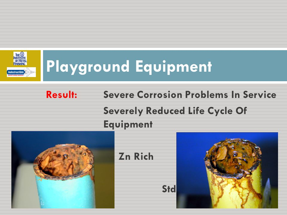 Result:Severe Corrosion Problems In Service Severely Reduced Life Cycle Of Equipment Zn Rich Std Playground Equipment
