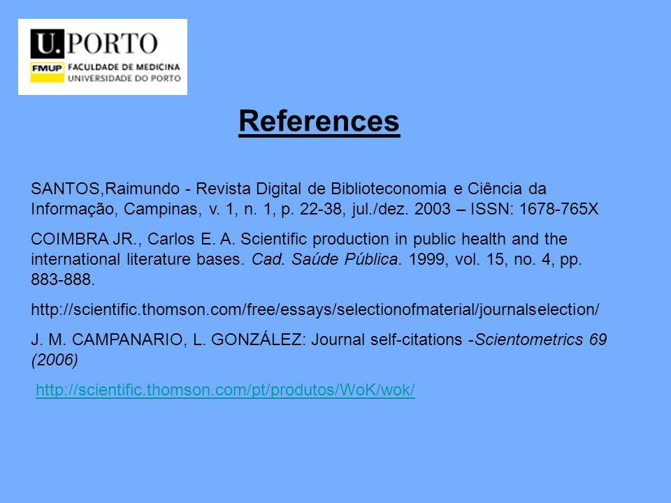 References SANTOS,Raimundo - Revista Digital de Biblioteconomia e Ciência da Informação, Campinas, v. 1, n. 1, p. 22-38, jul./dez. 2003 – ISSN: 1678-7