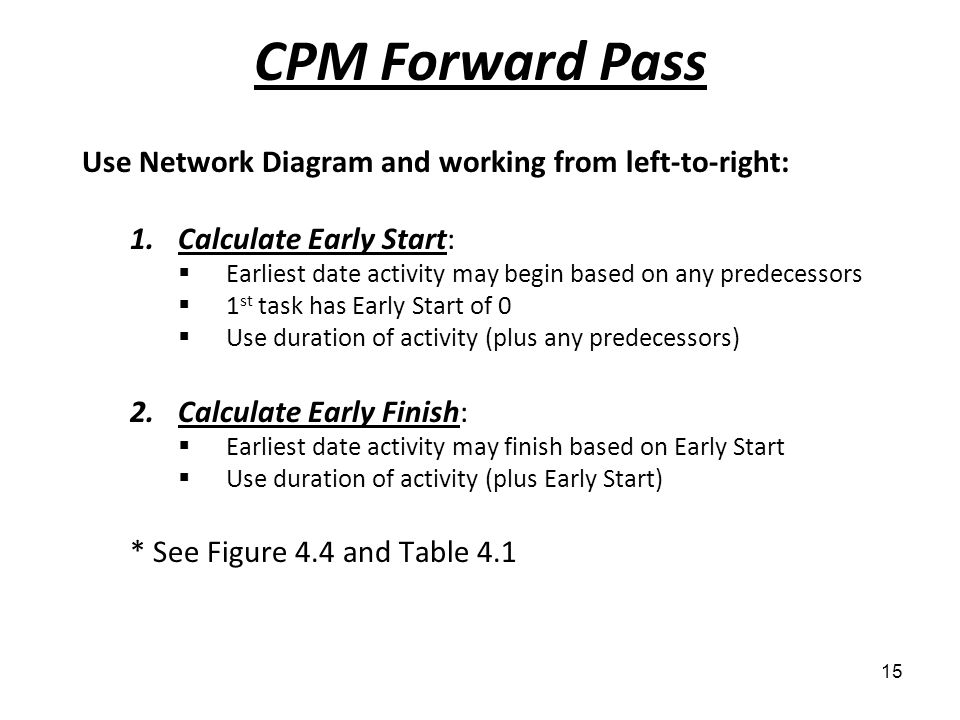 CPM Forward Pass Use Network Diagram and working from left-to-right: 1.Calculate Early Start: Earliest date activity may begin based on any predecesso
