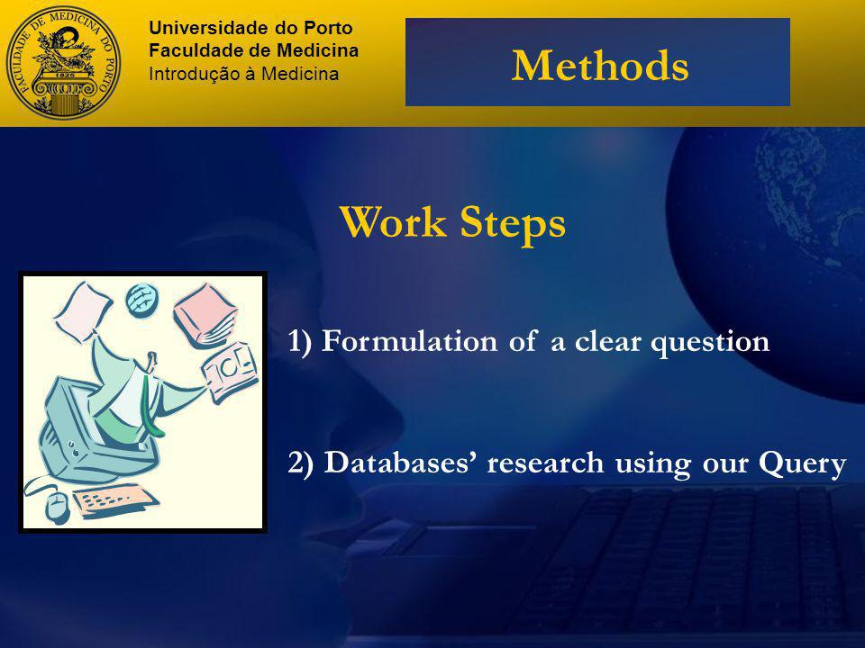 Work Steps 1) Formulation of a clear question 2) Databases research using our Query Universidade do Porto Faculdade de Medicina Introdução à Medicina Methods