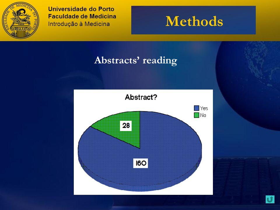 Abstracts reading Universidade do Porto Faculdade de Medicina Introdução à Medicina Methods