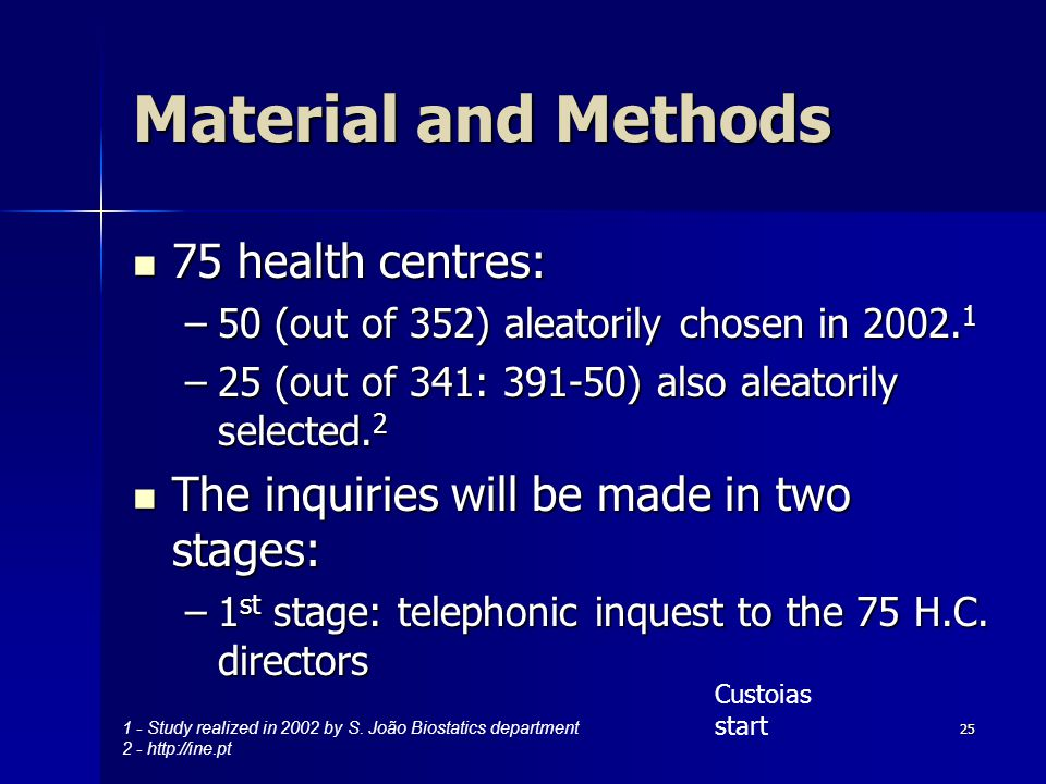 25 Material and Methods 75 health centres: 75 health centres: –50 (out of 352) aleatorily chosen in 2002.