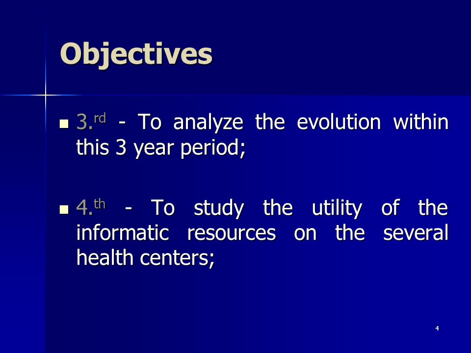 4 Objectives 3. rd - To analyze the evolution within this 3 year period; 3.