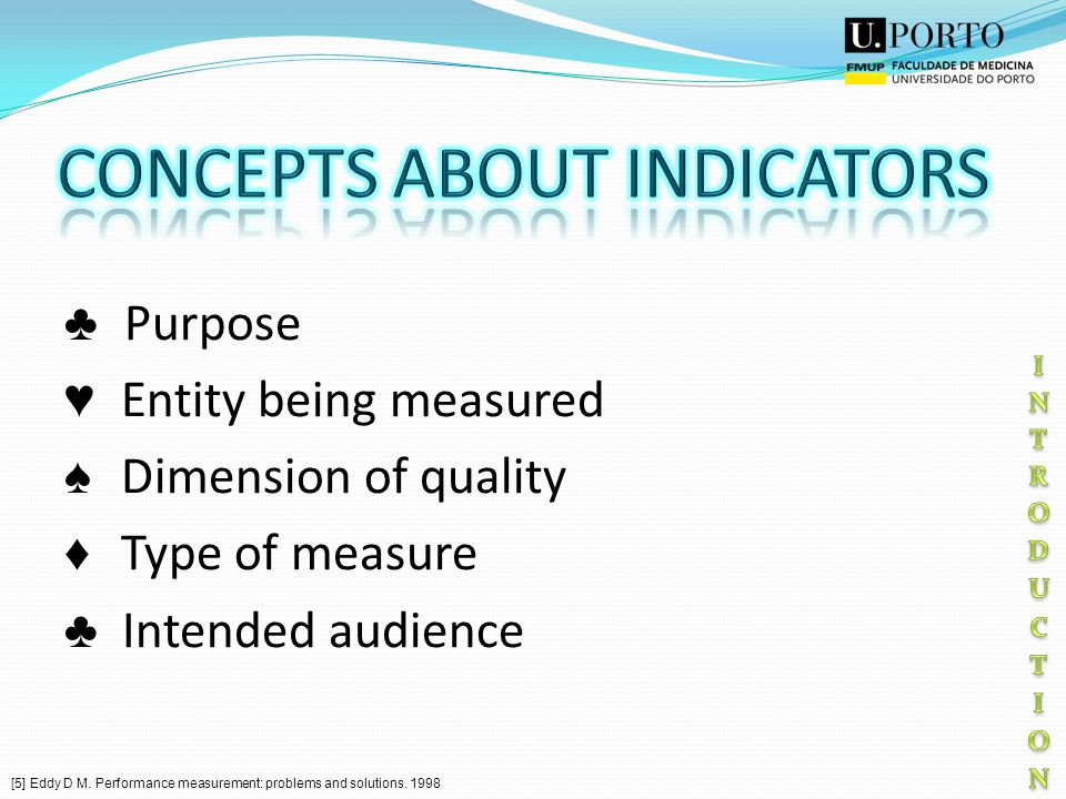 Purpose Entity being measured Dimension of quality Type of measure Intended audience [5] Eddy D M.