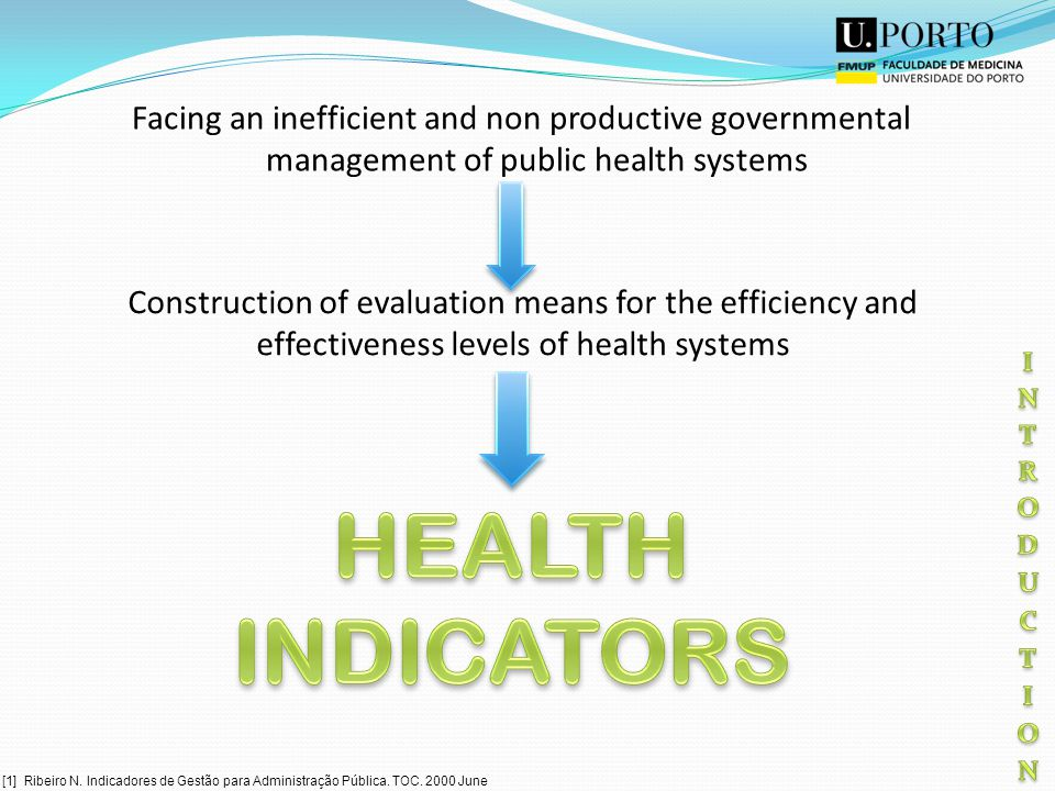 Facing an inefficient and non productive governmental management of public health systems Construction of evaluation means for the efficiency and effectiveness levels of health systems [1] Ribeiro N.