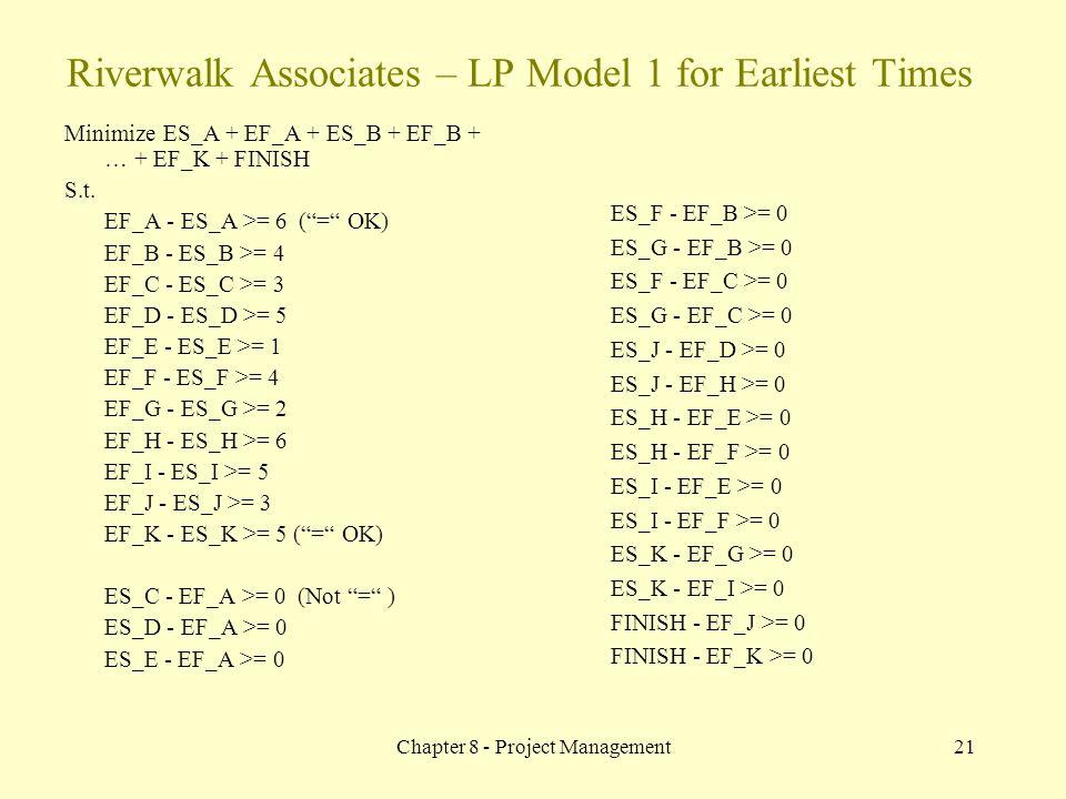 Chapter 8 - Project Management21 Minimize ES_A + EF_A + ES_B + EF_B + … + EF_K + FINISH S.t.