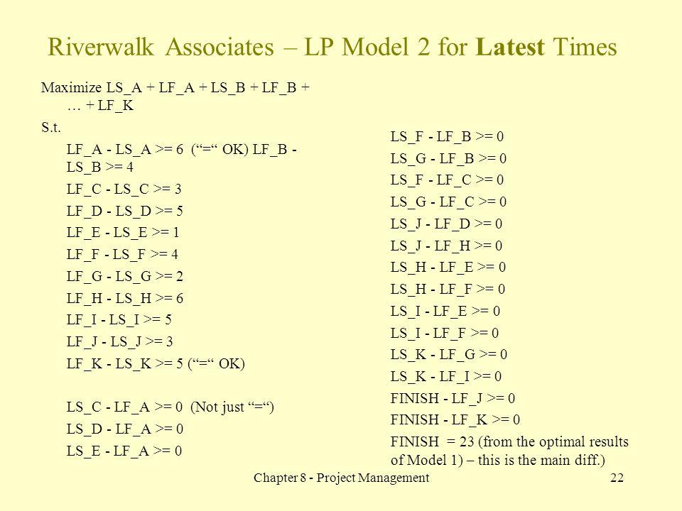 Chapter 8 - Project Management22 Maximize LS_A + LF_A + LS_B + LF_B + … + LF_K S.t.
