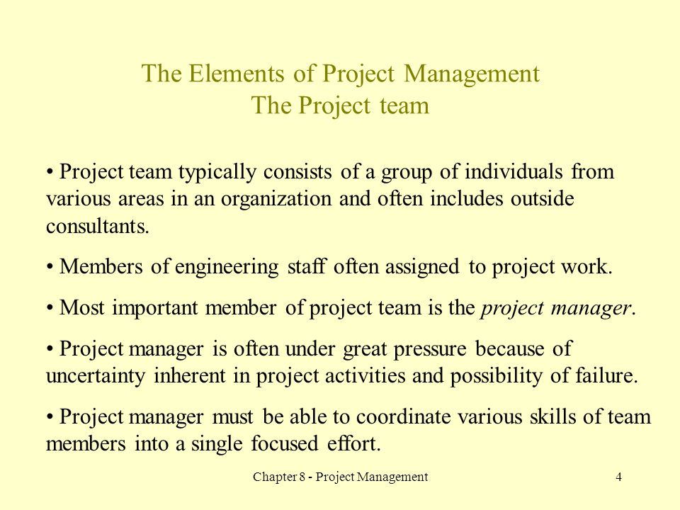 Chapter 8 - Project Management4 The Elements of Project Management The Project team Project team typically consists of a group of individuals from var