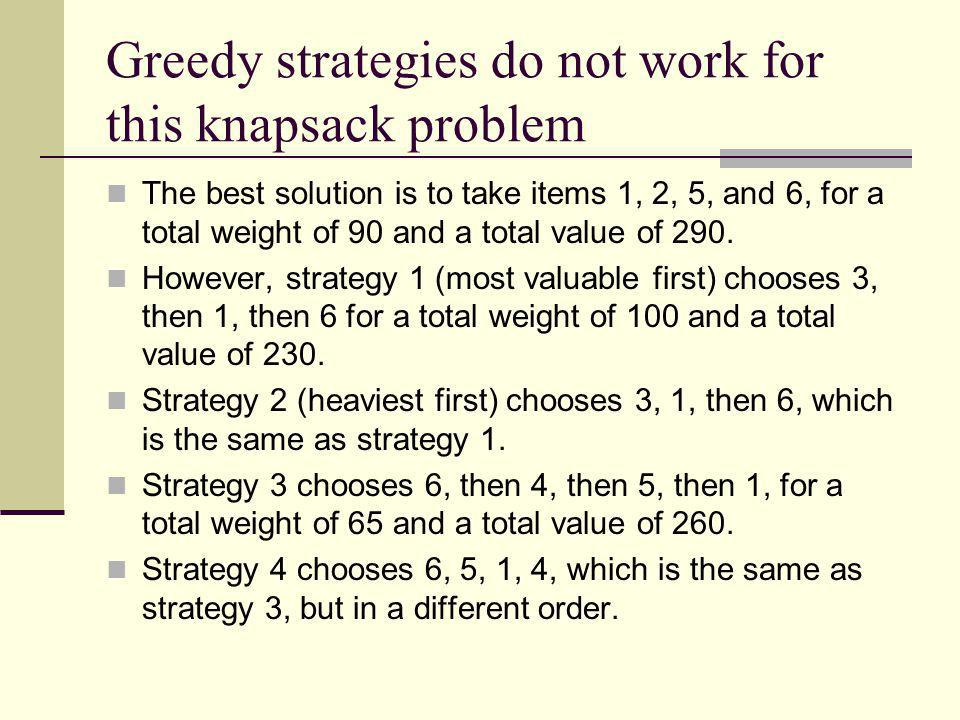 Greedy strategies do not work for this knapsack problem The best solution is to take items 1, 2, 5, and 6, for a total weight of 90 and a total value
