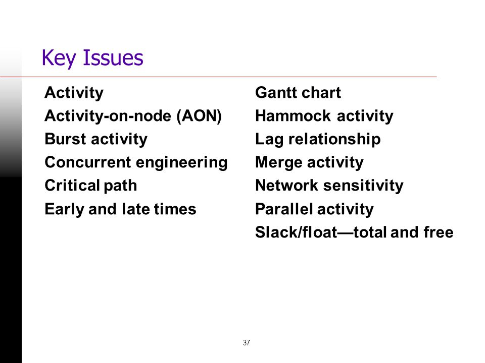 37 Key Issues Activity Activity-on-node (AON) Burst activity Concurrent engineering Critical path Early and late times Gantt chart Hammock activity La