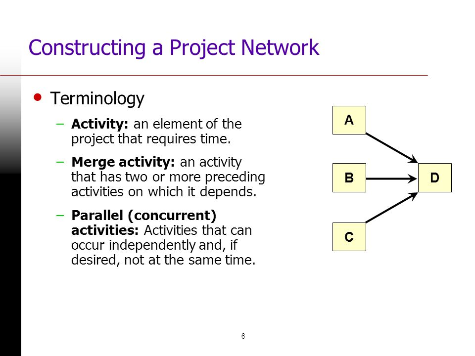 6 Constructing a Project Network Terminology –Activity: an element of the project that requires time. –Merge activity: an activity that has two or mor