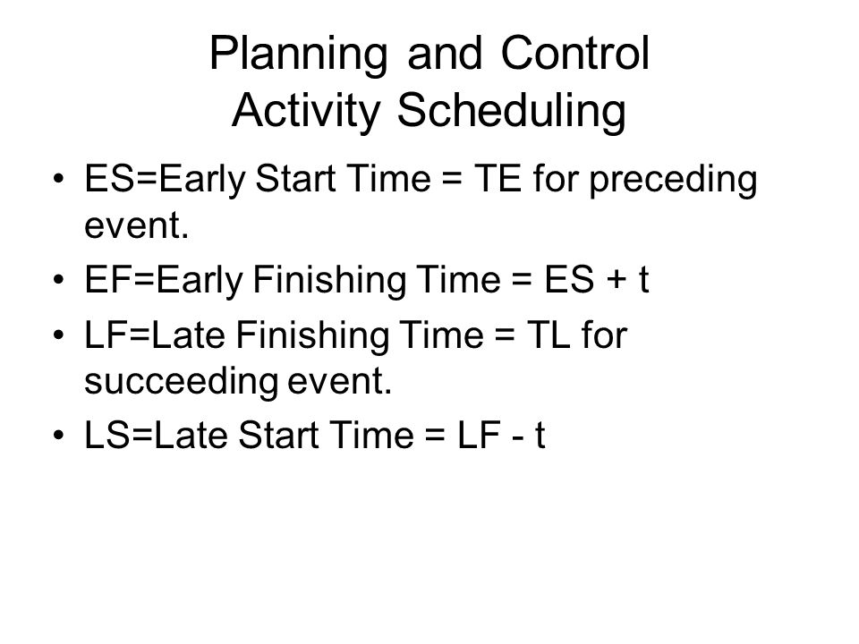Planning and Control Activity Scheduling ES=Early Start Time = TE for preceding event. EF=Early Finishing Time = ES + t LF=Late Finishing Time = TL fo