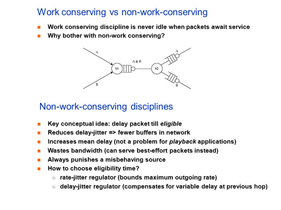 Work conserving vs non-work-conserving Work conserving discipline is never idle when packets await service Work conserving discipline is never idle wh