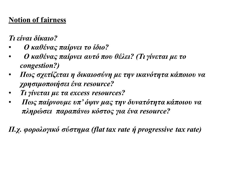 Notion of fairness Τι είναι δίκαιο. Ο καθένας παίρνει το ίδιο.
