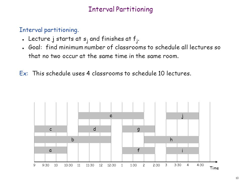 10 Interval Partitioning Interval partitioning. n Lecture j starts at s j and finishes at f j.