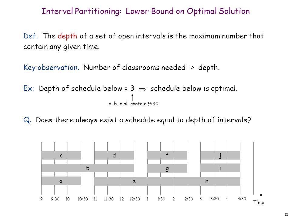 12 Interval Partitioning: Lower Bound on Optimal Solution Def. The depth of a set of open intervals is the maximum number that contain any given time.