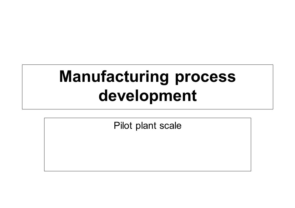 Manufacturing process development Pilot plant scale