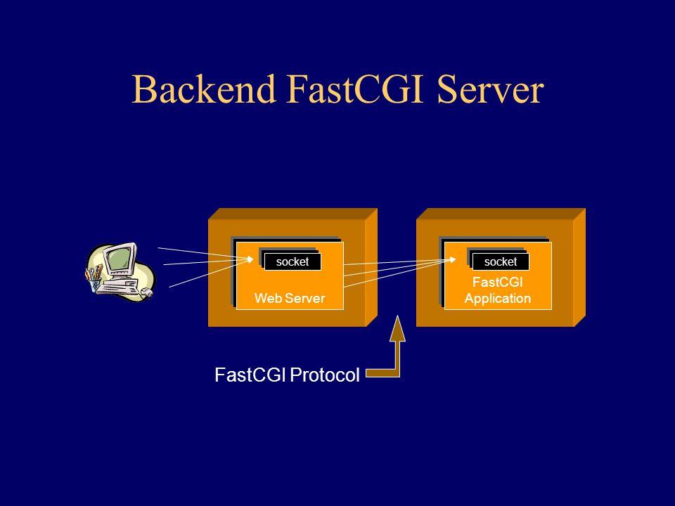 Web Server socket FastCGI Application socket Backend FastCGI Server FastCGI Protocol
