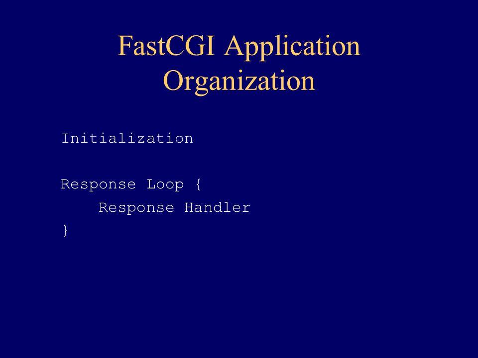 FastCGI Application Organization Initialization Response Loop { Response Handler }