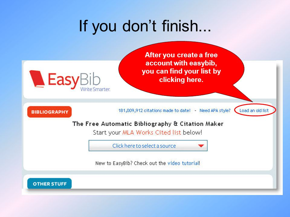 After you create a free account with easybib, you can find your list by clicking here.