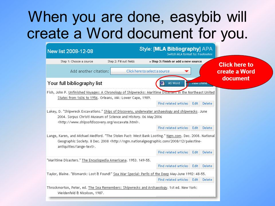 When you are done, easybib will create a Word document for you.