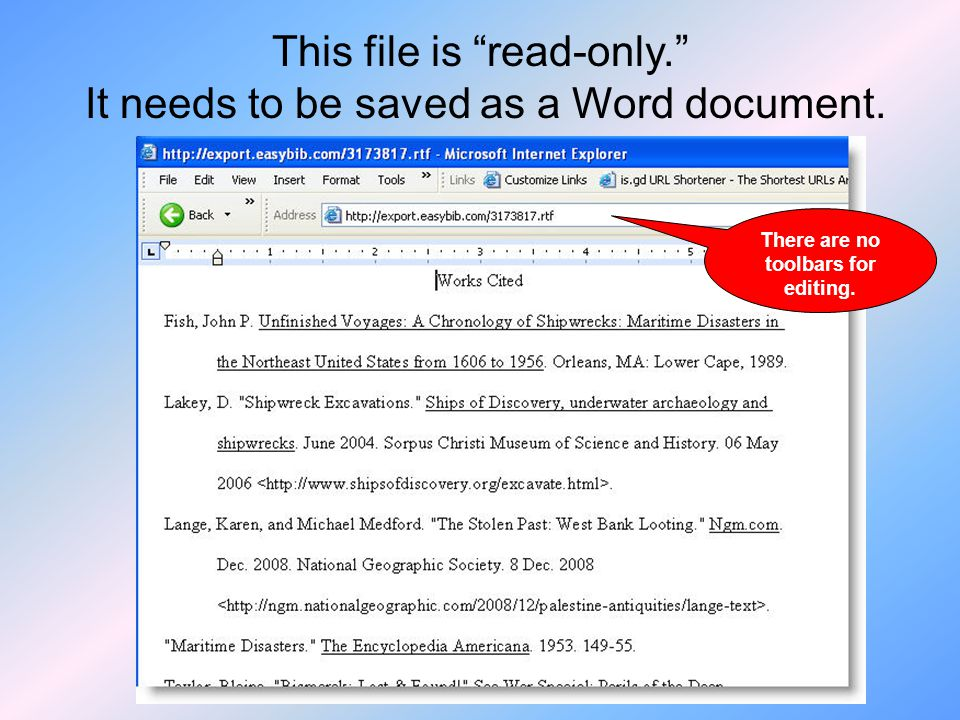 This file is read-only. It needs to be saved as a Word document. There are no toolbars for editing.
