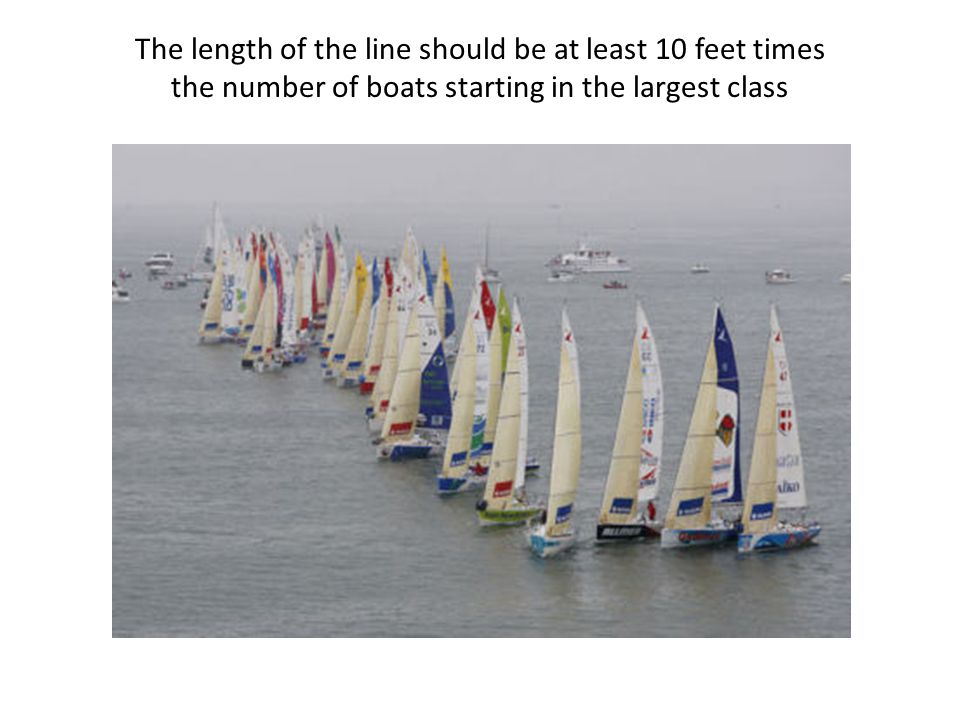 The length of the line should be at least 10 feet times the number of boats starting in the largest class