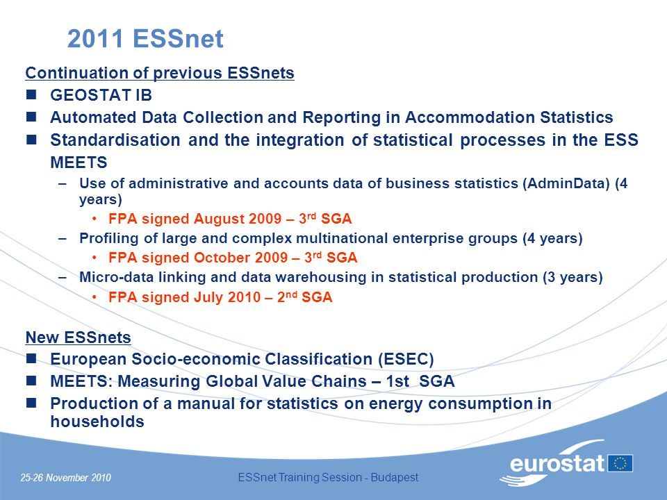 25-26 November 2010 ESSnet Training Session - Budapest 2011 ESSnet Continuation of previous ESSnets GEOSTAT IB Automated Data Collection and Reporting in Accommodation Statistics Standardisation and the integration of statistical processes in the ESS MEETS –Use of administrative and accounts data of business statistics (AdminData) (4 years) FPA signed August 2009 – 3 rd SGA –Profiling of large and complex multinational enterprise groups (4 years) FPA signed October 2009 – 3 rd SGA –Micro-data linking and data warehousing in statistical production (3 years) FPA signed July 2010 – 2 nd SGA New ESSnets European Socio-economic Classification (ESEC) MEETS: Measuring Global Value Chains – 1st SGA Production of a manual for statistics on energy consumption in households