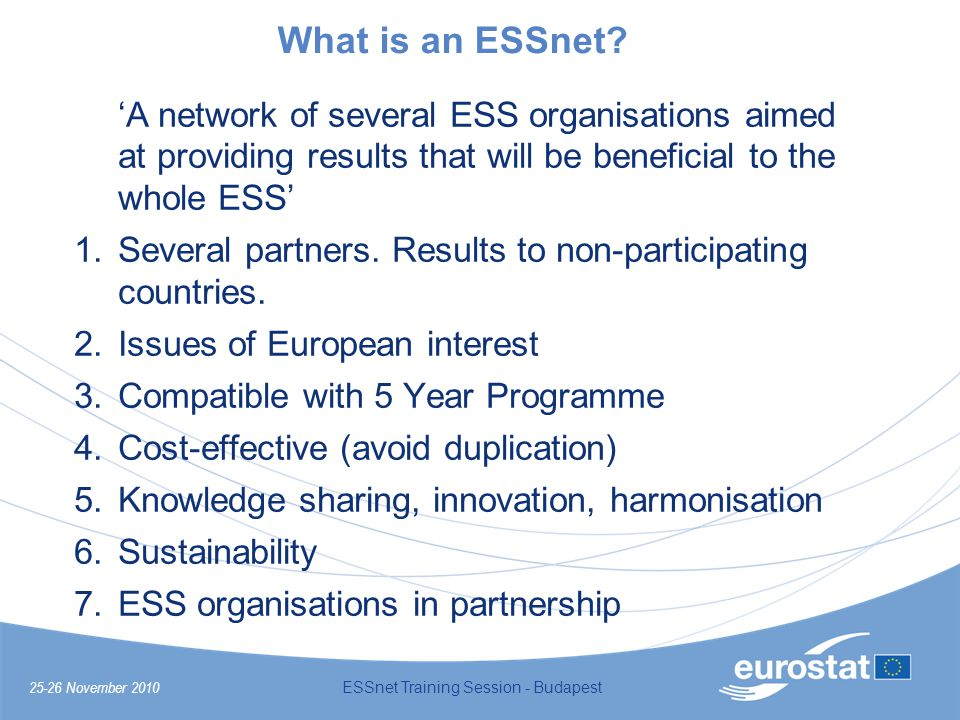 25-26 November 2010 ESSnet Training Session - Budapest What is an ESSnet.