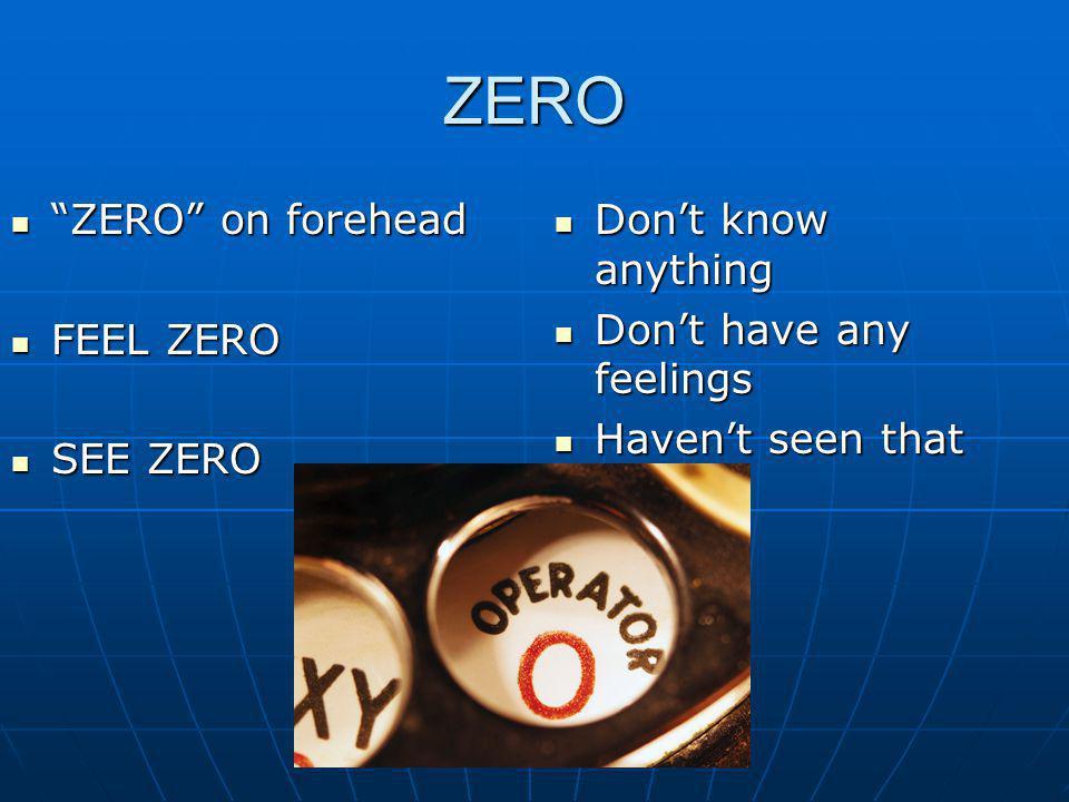 ZERO ZERO on forehead ZERO on forehead FEEL ZERO FEEL ZERO SEE ZERO SEE ZERO Dont know anything Dont know anything Dont have any feelings Dont have an