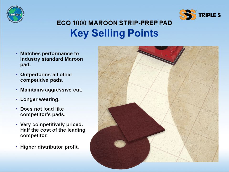 Matches performance to industry standard Maroon pad.