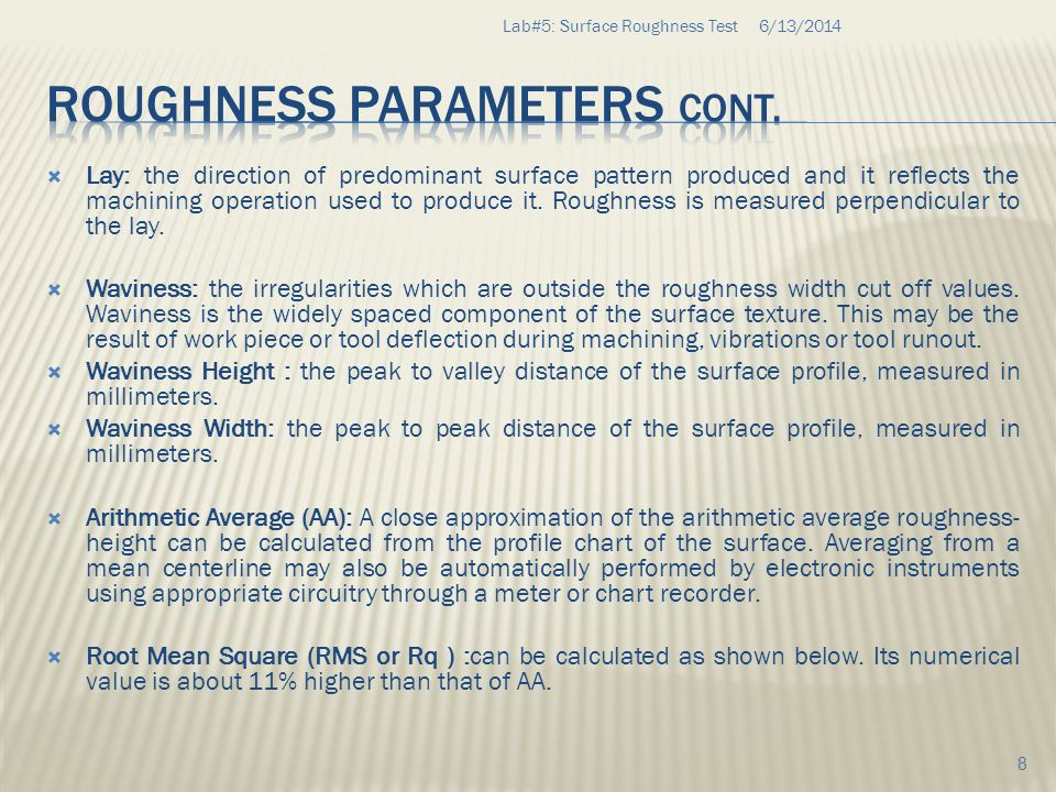 6/13/2014Lab#5: Surface Roughness Test 19