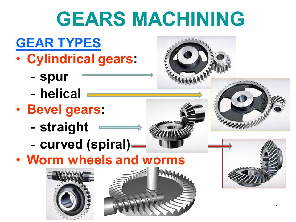 1 GEARS MACHINING GEAR TYPES Cylindrical gears: -spur -helical Bevel gears: -straight -curved (spiral) Worm wheels and worms